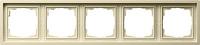 Установочная 5-ти местная рамка Gira F100 0215111 для горизонтальной и вертикальной установки глянцевый кремовый